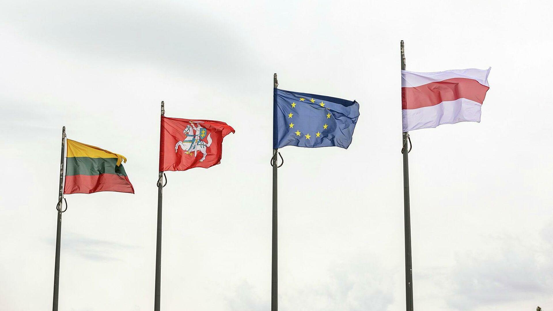Мэрия Вильнюса вывесила флаг белорусской оппозиции вместо городского